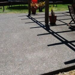 Exposed aggregate in patio area, different angle