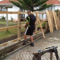 The build of a new wooden boundary fence
