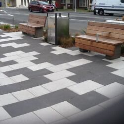 Outdoor commercial paving area, another angle
