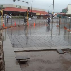 Commercial paving area, two tone colours