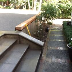 Paved steps and exposed concrete