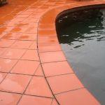 Paved area around pool