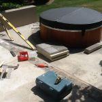 Preparing area around spa pool