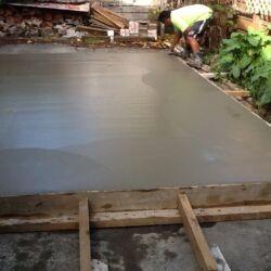 Wet concrete pad